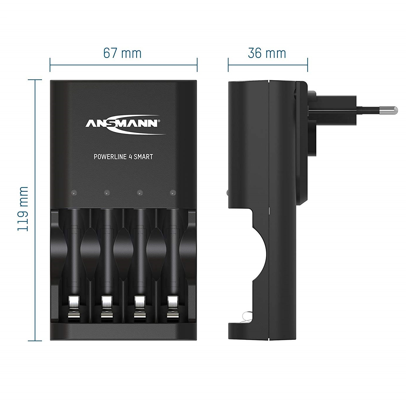 ANSMANN Bộ sạc Pin POWERLINE 4 Smart - 1001-0049